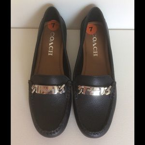 Coach navy leather loafers